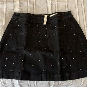 Denim skirt with star embellishments